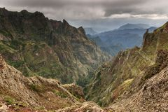 Mountains Madeira with ominous clouds royalty free stock photography