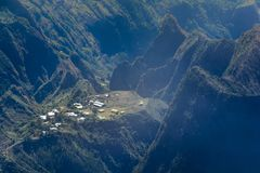 Mountains of Mafate at Reunion Island. During a sunny day Royalty Free Stock Photo