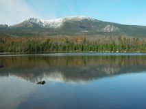 Mountains in Maine. Snow capped mountains with a lake reflection Stock Photos