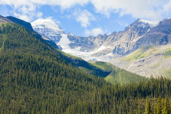 Mountains maligne lake glacier view  banff  national park west canada british columbia. In summer Royalty Free Stock Image