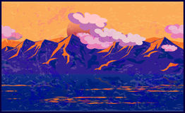 Mountains in the manner of Impressionism. Stylized vector illustration impressionism manner on the theme of mountains, mountain ranges, traveling and climbing Stock Images