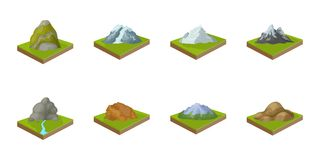 Mountains, massive icons in set collection for design. The surface of the earth vector isometric symbol stock web. Mountains, massive icons in set collection for Royalty Free Stock Photos