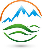 Mountains, meadow and sun, turism and sports logo Royalty Free Stock Photos