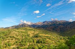 Mountains and meadows under blue sky. On the island Crete, Greece stock photo