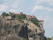 Mountains Meteora and monasteries Stock Images