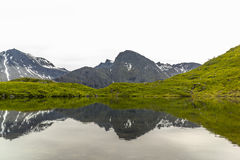 Mountains Mirrored by Lake. Norwegian mountains mirrored by a small lake Royalty Free Stock Photography