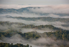 Mountains and mist in Thailand. Royalty Free Stock Photos