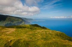 Mountains of Molokai. Aerial view of Molokai island mountains and coastline Royalty Free Stock Photography