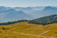 Mountains and Mont Blanc view. From Cret de Chatillon, France Stock Photo