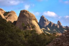 Mountains in Montserrat in Catalonia of Spain in a sunny day. Very interesting shape rocks.  royalty free stock image