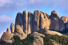 Mountains in Montserrat in Catalonia of Spain in a sunny day. Very interesting shape rocks.  royalty free stock photos