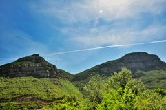 Mountains Montserrat. In Spain, in the northwest from Barcelona the freakish and mysterious place a massif Montserrat which consists from more than 1200 huge Royalty Free Stock Photography