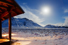 Mountains  at the moonlight in  winter. Stock Photos