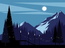 Mountains on a moonlit night. Background stock illustration