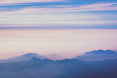 Mountains in mornig haze. Mountain ridges with scenic heat haze by early morning in Japan Royalty Free Stock Image