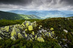 Mountains with mossy rocks Stock Photo