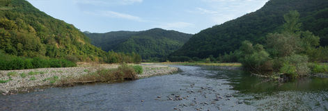 Mountains and mountain river. In the Caucasus Royalty Free Stock Photography