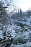 Mountains, a mountain river in winter Royalty Free Stock Photos