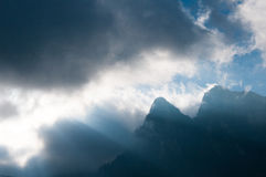 Mountains and mysterious clouds Royalty Free Stock Image