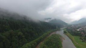 Mountains / nature. / fog / trees / city / ukarina stock video footage