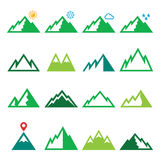 Mountains, nature vector green icons set Royalty Free Stock Image