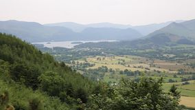 Mountains near Keswick lake District Cumbria England UK and Derwent water from the Osprey look out stock video