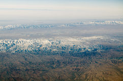 Mountains near Mashhad, Iran. Aerial view of the mountain ranges Binalood and Hezar-masjed near Mashhad in Northern Iran Royalty Free Stock Images