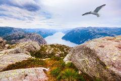 Mountains near the Preachers Pulpit Rock in fjord Lysefjord Royalty Free Stock Photo