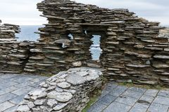 Fragments of the fortress ruins. In the mountains near the sea, historically ancient settlements and fragments of the fortress ruins; fragments of ruins are made royalty free stock photography