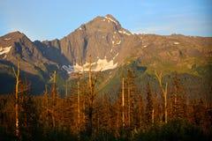 Mountains near Seward Alaska. Mountain range in Seward, Alaska near Kenai Fjords National Park along the water Royalty Free Stock Image