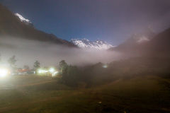 Mountains night fog, Tengboche village, Nepal. Royalty Free Stock Photography