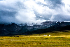Mountains and Nomads. Mountains on Son-Kul lake, Kyrgyzstan Stock Photo