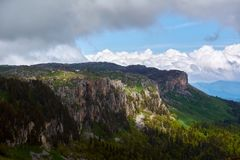 Mountains of the North Caucasus. View from the top of the mountain Oshten Royalty Free Stock Photography