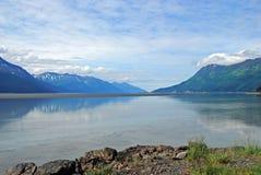 Mountains and ocean in Alaska Stock Photo
