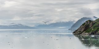 Mountains & Ocean with cloudy sky at Glacier Bay Alaska stock image