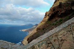 Mountains with Ocean and Viewpoint, Gran Canaria. Sheer rock walls on Canarian Islands, Gran Canaria, Africa. In front is a stone-wall as part of an lookout Stock Photo