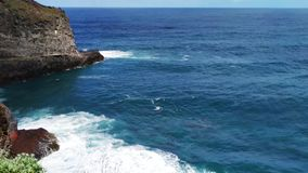 Mountains and ocean on northern Atlantic coast, Madeira. Mountains and ocean with waves on northern Atlantic coast of Madeira, Portugal stock video