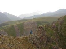 Mountains. One tourist in the mountains Royalty Free Stock Photos