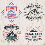 Mountains outdoor adventure t-shirt print. T-shirt print design. Set of mountain outdoor adventure vintage stamp. Printing and badge applique label t-shirts Vector Illustration