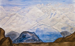 Mountains, painting Stock Photography