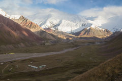 Mountains of Pamir. View from the Hill to the Zaalayskiy Valley, Pamir, Kyrgyzstan Royalty Free Stock Photo