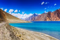 Mountains,Pangong tso (Lake),Leh,Ladakh,Jammu and Kashmir,India Royalty Free Stock Images