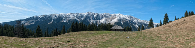 Mountains panorama. Isolated old chalet in romanian mountains Piatra Craiului Royalty Free Stock Photos