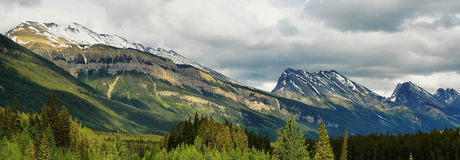 Mountains panorama at columbia icefield area Stock Images