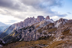 Mountains Panorama of the Dolomites with clouds Royalty Free Stock Images
