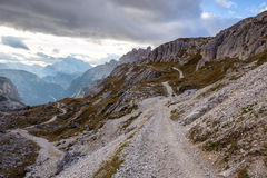 Mountains Panorama of the Dolomites with clouds Royalty Free Stock Photography