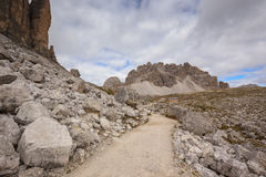 Mountains Panorama of the Dolomites with clouds Royalty Free Stock Photo