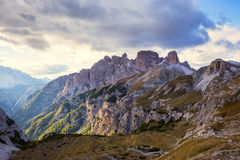 Mountains Panorama of the Dolomites with clouds Stock Photos