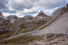 Mountains Panorama of the Dolomites with clouds Royalty Free Stock Image