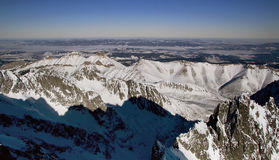 Mountains panorama from the High Tatras. In Slovakia (Lomnicky peak stock image